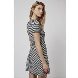 Topshop | NWT Ribbed Striped Skater Wrap Dress